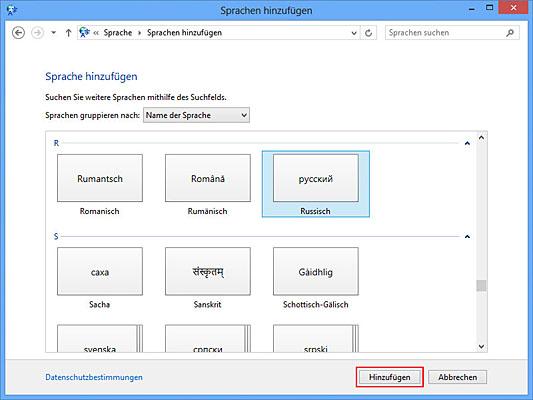 Windows 8 auf Russische Tastatur umstellen